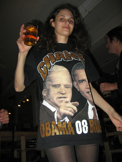 Rebecca Schiffman wearing Obama Biden 08 T-Shirt