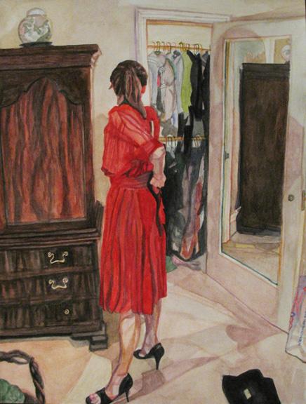 Rebecca Schiffman Red Dress Watercolor