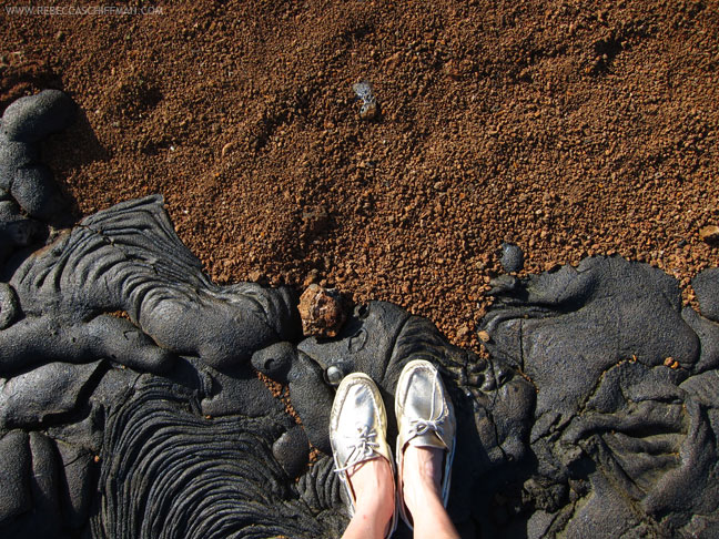 Gold Sperry Topsiders on Lava in Galapagos Islands