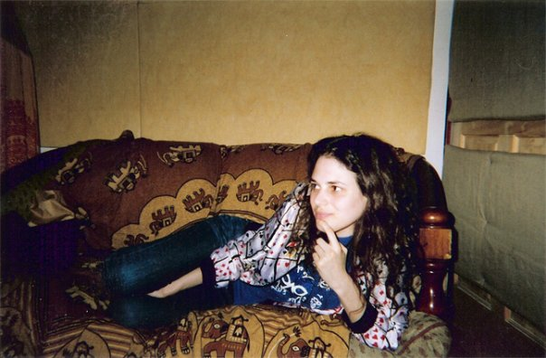 Rebecca Schiffman having an idea in Mike Musmanno's recording studio in DUMBO, Brooklyn.