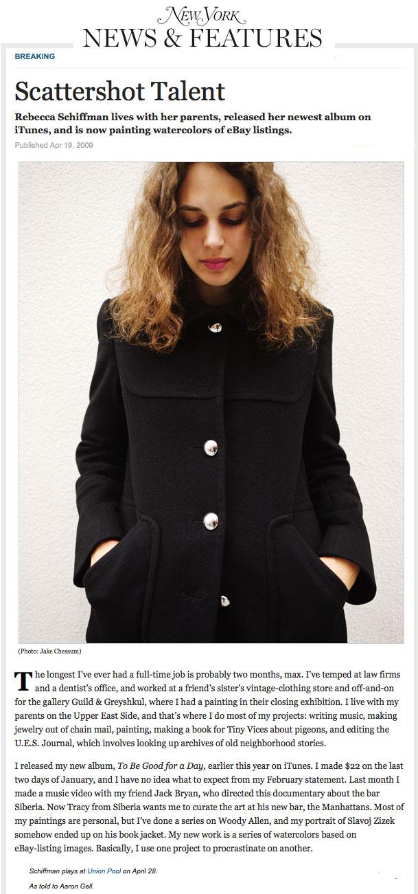 Rebecca Schiffman in New York Magazine