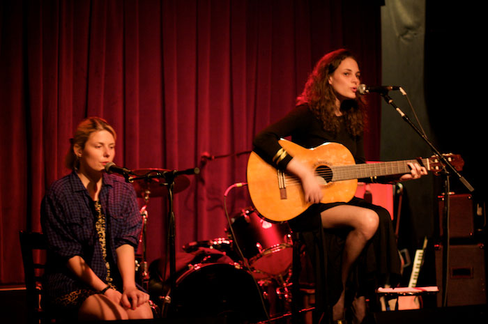 Rebecca Schiffman and Reka Reisinger at Union Pool for North Brooklyn Story Project, Photo by Matthew Glasson