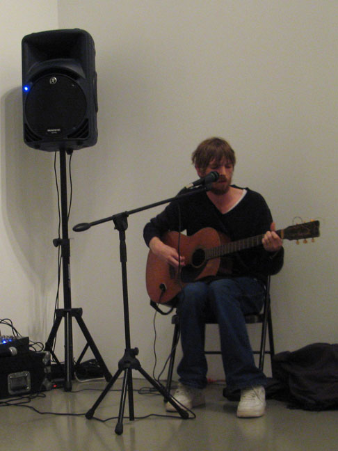 Luke Roberts performing at Mitchell-Innes & Nash